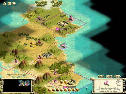 Figure 3 Civilization at Macro Level of the Game World or Map: Civ III - Macro Level